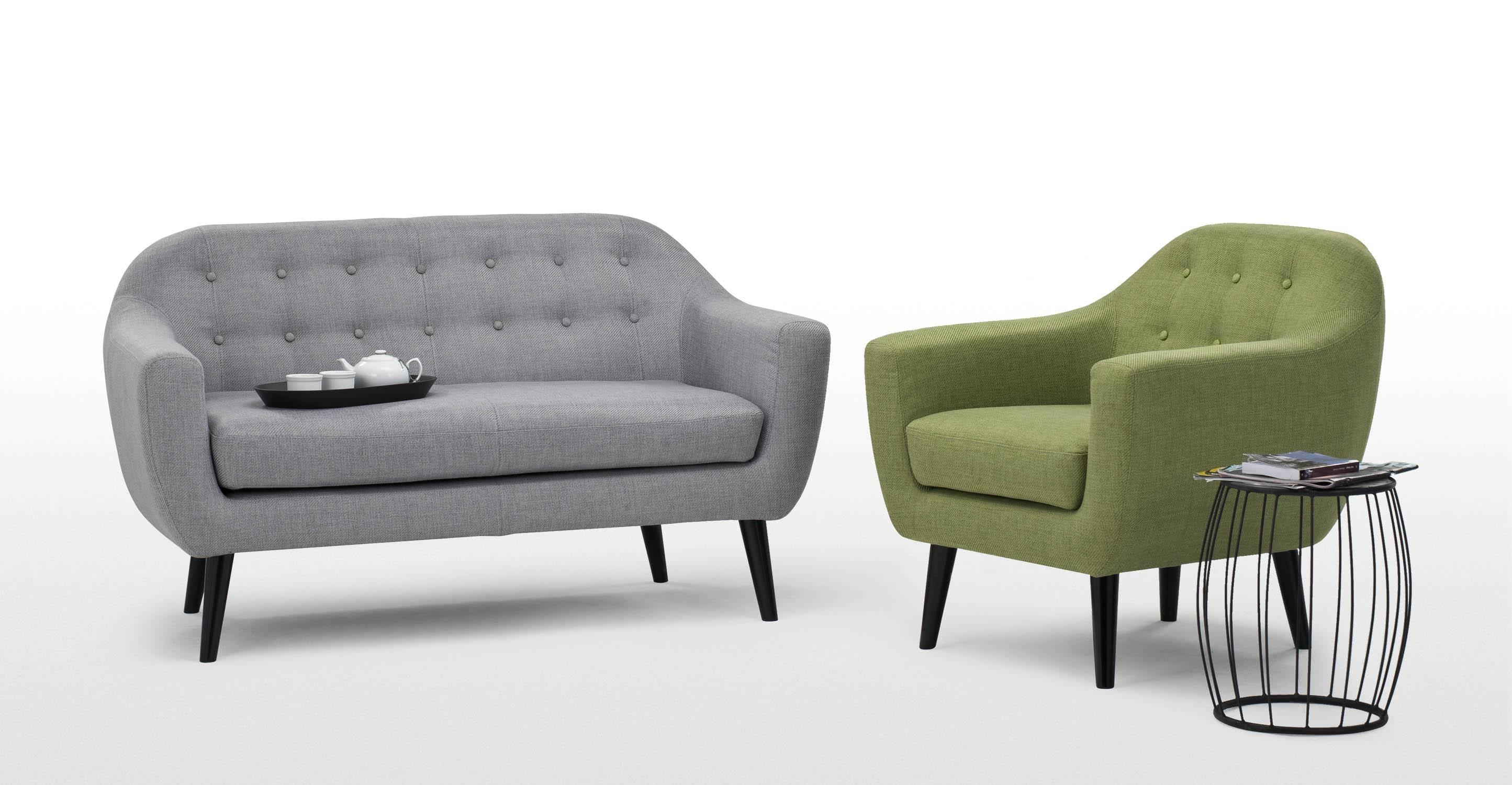 Ritchie 2 Seater Sofa In Pearl Grey | Made With Regard To Grey Sofa Chairs (Image 15 of 20)