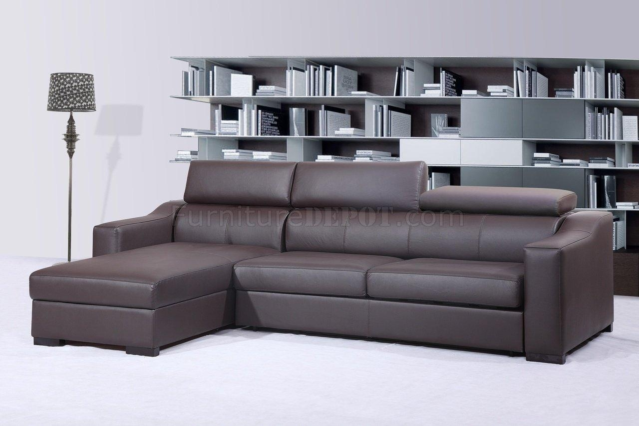 Ritz Sleeper Sectional Sofa Chocolate Brown Leatherj&m For Contemporary Brown Leather Sofas (View 20 of 20)