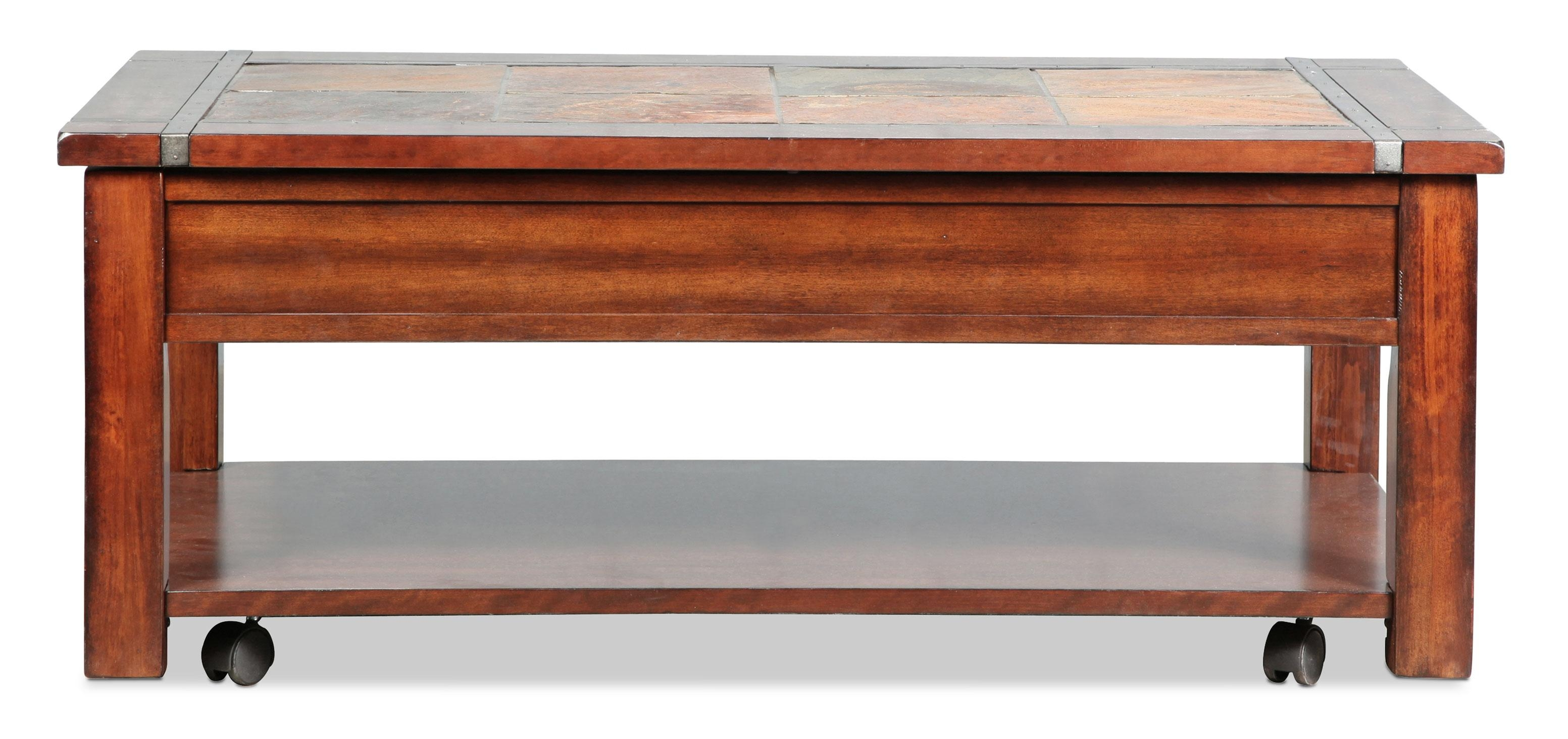 Roanoke Lift Top Coffee Table – Slate And Cherry | Levin Furniture Pertaining To Slate Sofa Tables (Image 5 of 20)