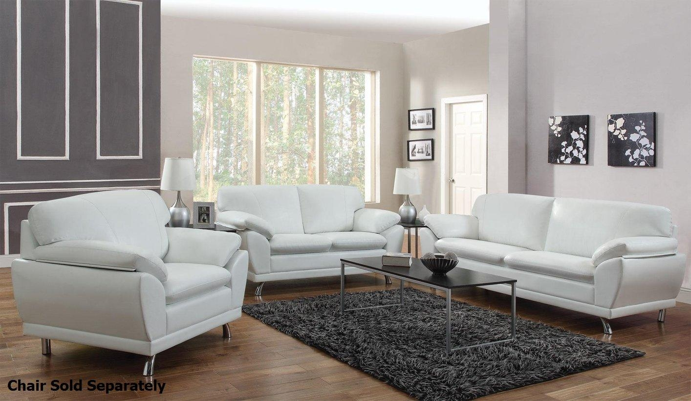 Robyn White Leather Sofa And Loveseat Set – Steal A Sofa Furniture With White Leather Sofas (Image 11 of 20)