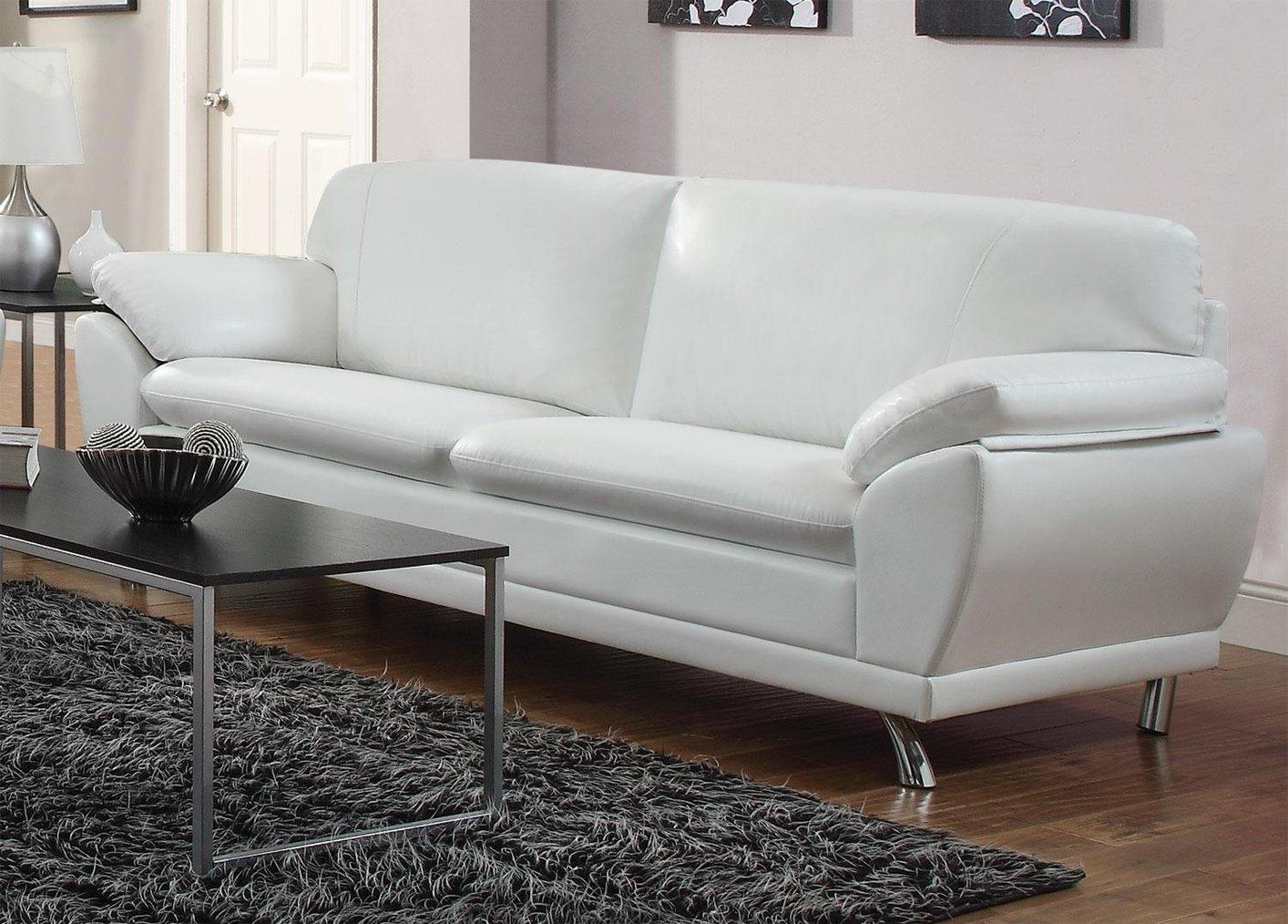 Robyn White Leather Sofa – Steal A Sofa Furniture Outlet Los With White Leather Sofas (Image 10 of 20)