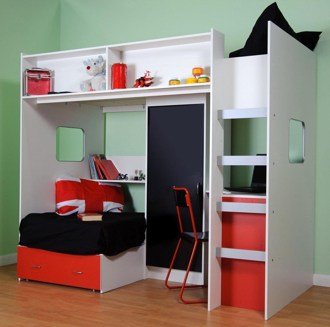 Roland Childrens High Sleeper Loft Bed Inside High Sleeper With Sofa And Desk (Image 16 of 20)