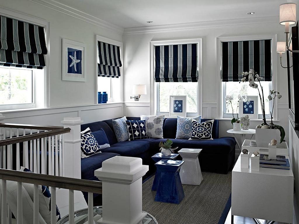 Roman Shades Navy Blue Stupendous Stool White Railing Sectional Throughout Blue And White Striped Sofas (Image 14 of 20)