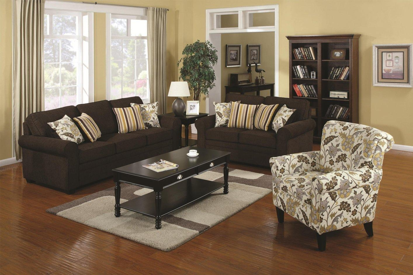 Rosalie Brown Fabric Loveseat – Steal A Sofa Furniture Outlet Los Within Sofa And Accent Chair Set (View 9 of 20)
