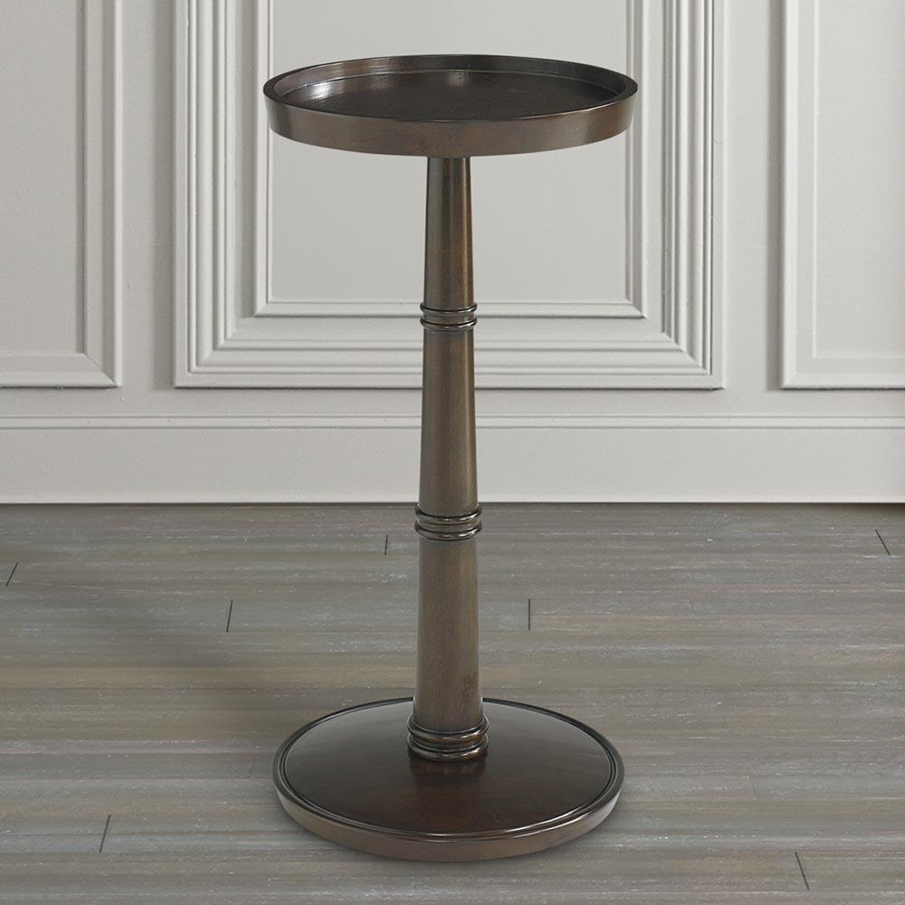 Round Drink Table Brown Or Gray | Bassett Home Furnishings Throughout Sofa Drink Tables (Image 13 of 20)