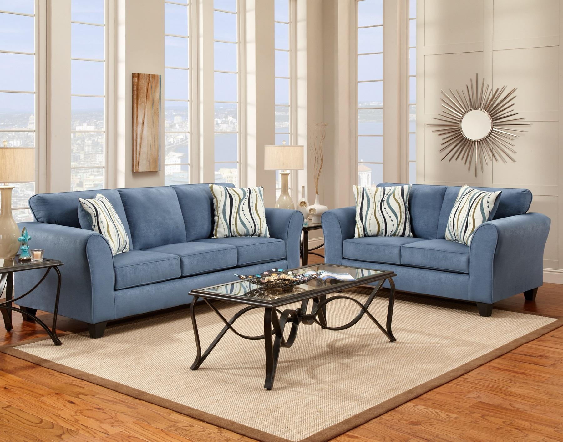 Roundhill Furniture Intended For Blue Microfiber Sofas (Image 12 of 20)