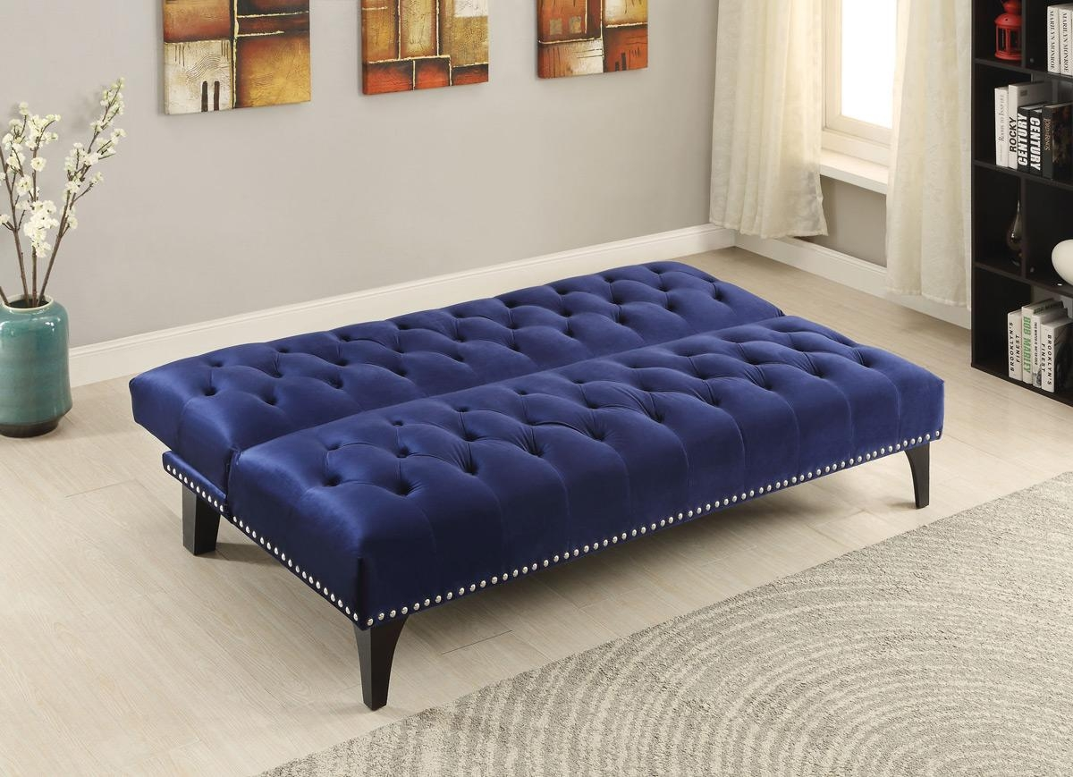 Royal Blue Velvet Tufted Sofa Bed Futon – Caravana Furniture Throughout Blue Velvet Tufted Sofas (Image 15 of 20)