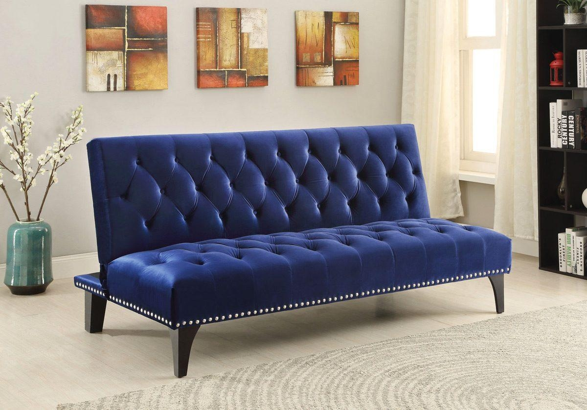 Royal Blue Velvet Tufted Sofa Bed Futon – Caravana Furniture With Regard To Blue Velvet Tufted Sofas (Image 16 of 20)