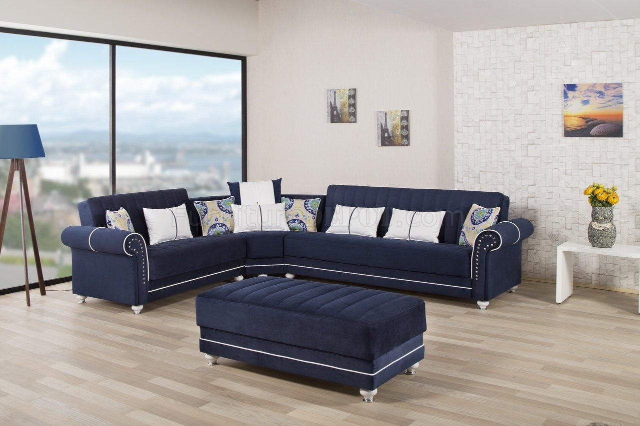 Royal Home Sectional Sofa In Dark Blue Fabriccasamode Throughout Dark Blue Sofas (Image 13 of 20)