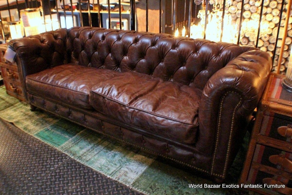 Rustic Leather Chair And Ottoman – Destroybmx Throughout Brown Leather Tufted Sofas (Image 15 of 20)