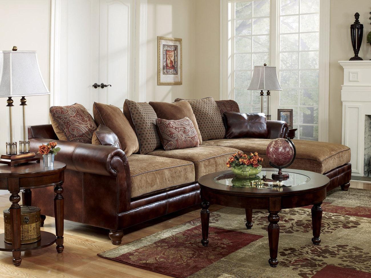 Rustic Leather Sectional Sofa – Bible Saitama Regarding Leather And Chenille Sectional (Image 16 of 20)