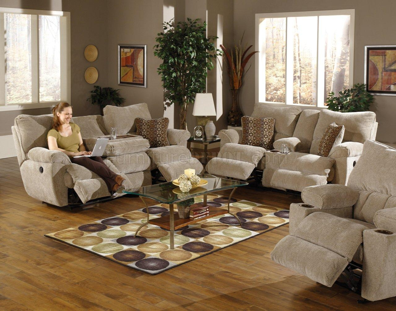 Sable/earth Fabric Madison Reclining Sofa & Loveseat Set For Reclining Sofas And Loveseats Sets (Image 16 of 20)
