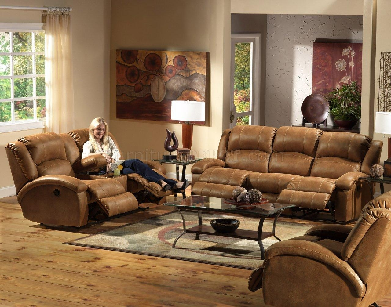 Saddle Faux Leather Dawson Reclining Sofa & Loveseat Set With Regard To Reclining Sofas And Loveseats Sets (Image 17 of 20)