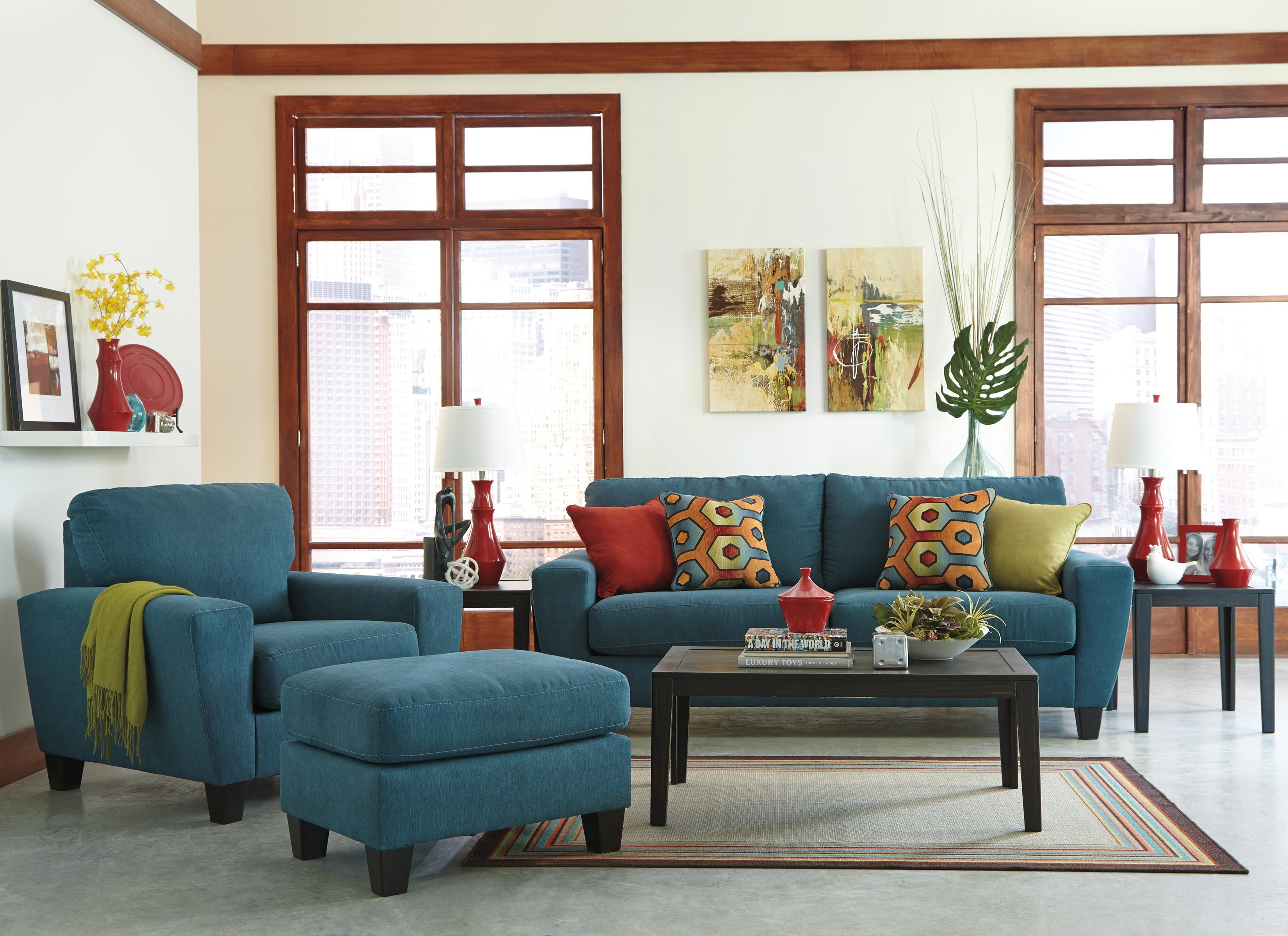 Sadie Sofa Chair Ottoman Living Room Set 3Pc Contemporary Modern With Living Room Sofa And Chair Sets (Image 17 of 20)