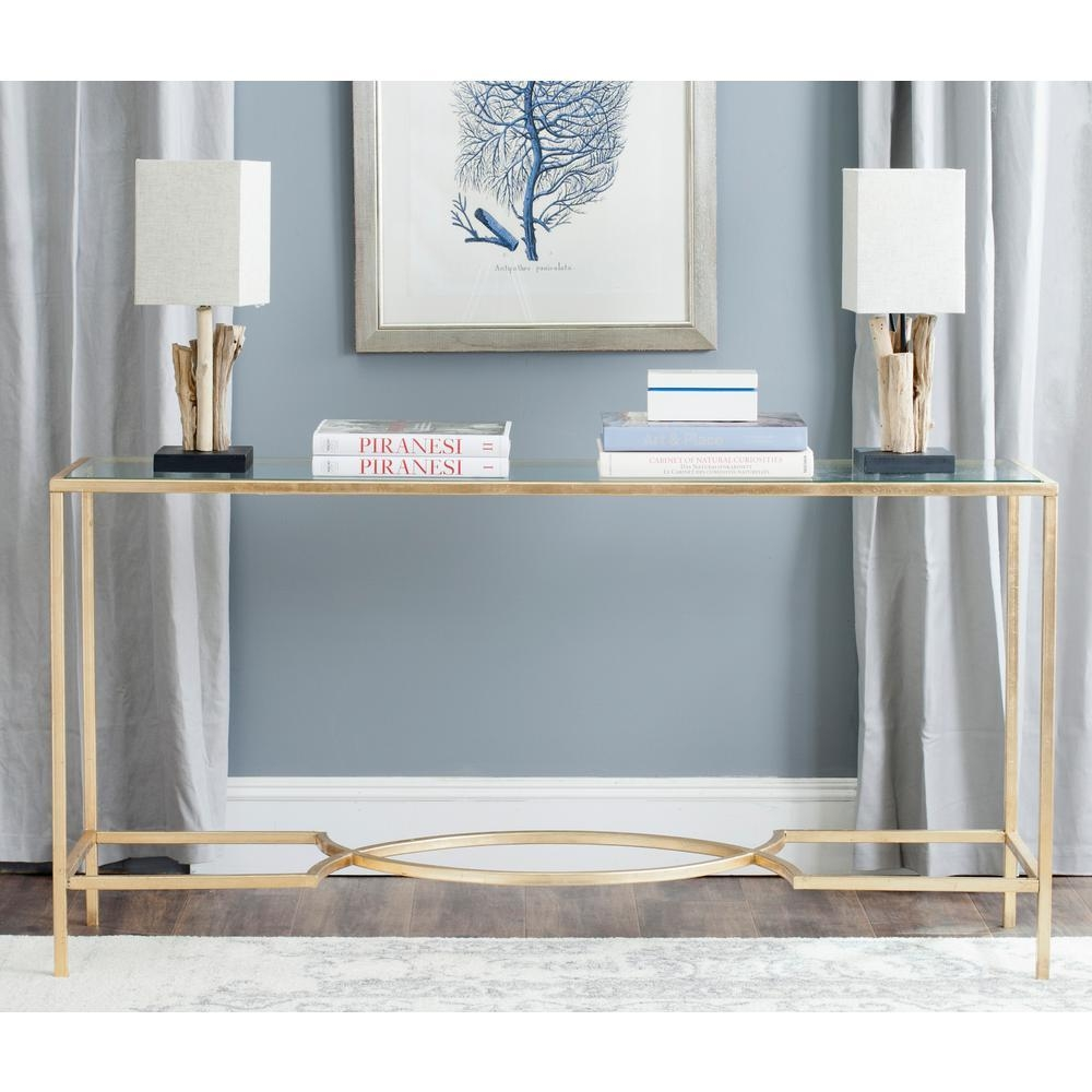 Safavieh Inga Glass Top Gold Iron Console Fox2542A – The Home Depot Pertaining To Gold Sofa Tables (Image 13 of 20)
