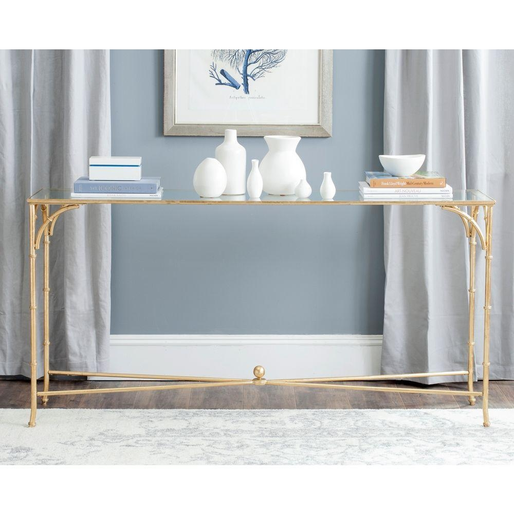 Safavieh Maurice Gold Tempered Glass Top Console Table Fox2544A Regarding Gold Sofa Tables (Image 14 of 20)