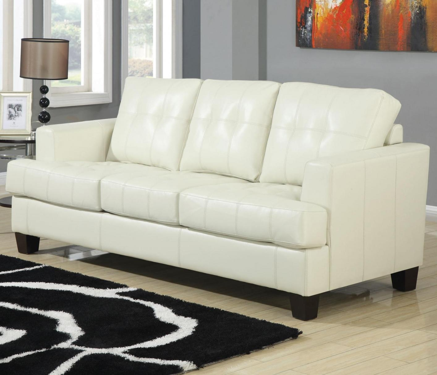 Samuel Beige Leather Sofa Bed – Steal A Sofa Furniture Outlet Los In Beige Leather Couches (Image 20 of 20)