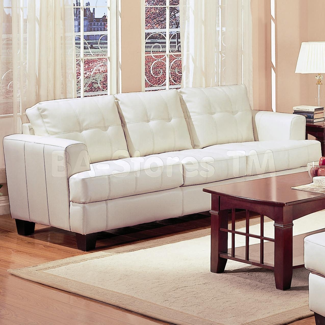 Samuel Contemporary Leather Sofa In White – Coaster Co (Image 12 of 20)