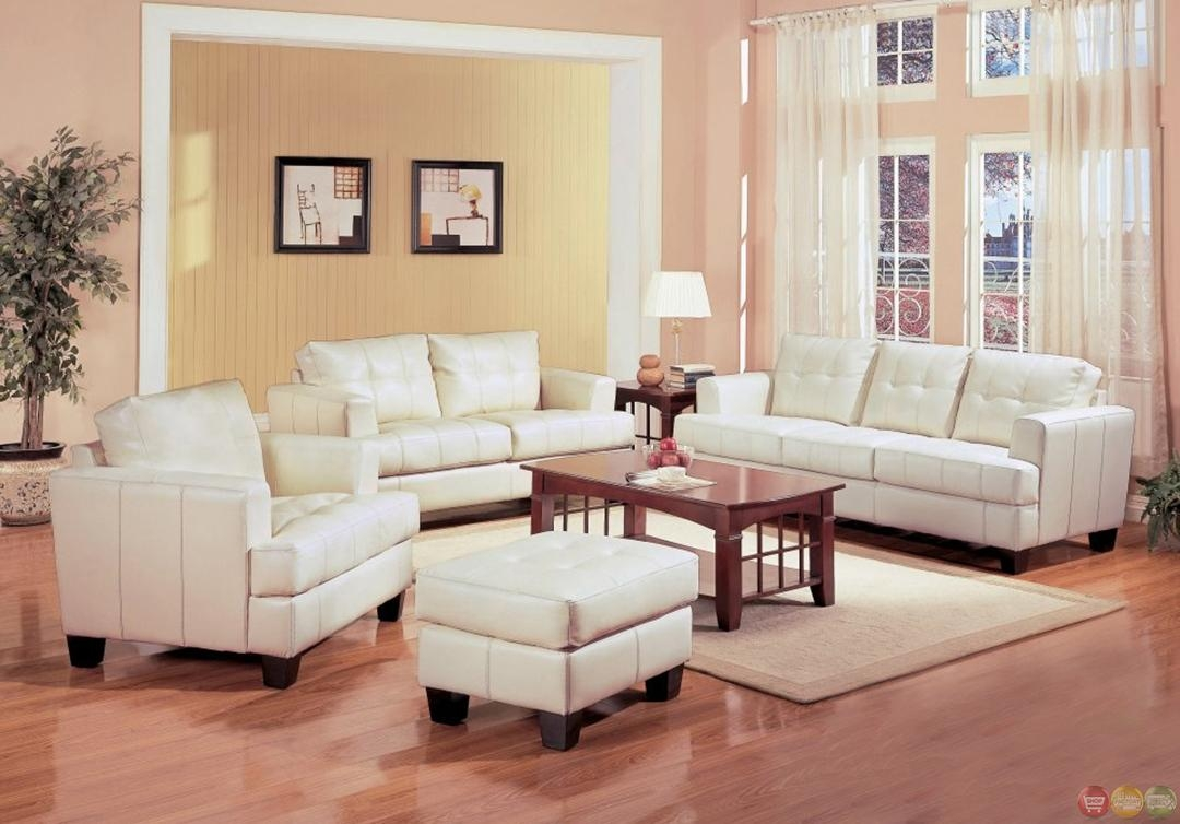 Samuel Cream Off White Bonded Leather Living Room Sofa & Loveseat For Off White Leather Sofa And Loveseat (Image 14 of 20)