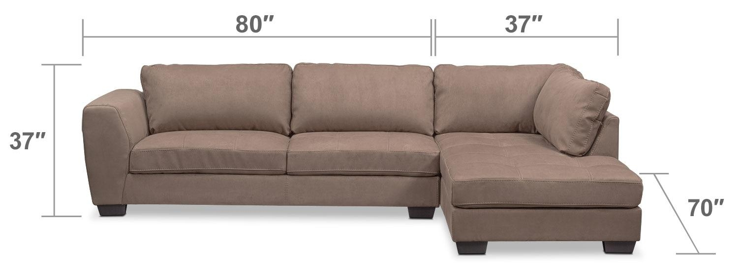 Santana 2 Piece Sectional With Right Facing Chaise – Taupe | Value Pertaining To Sectional With 2 Chaises (Image 13 of 20)