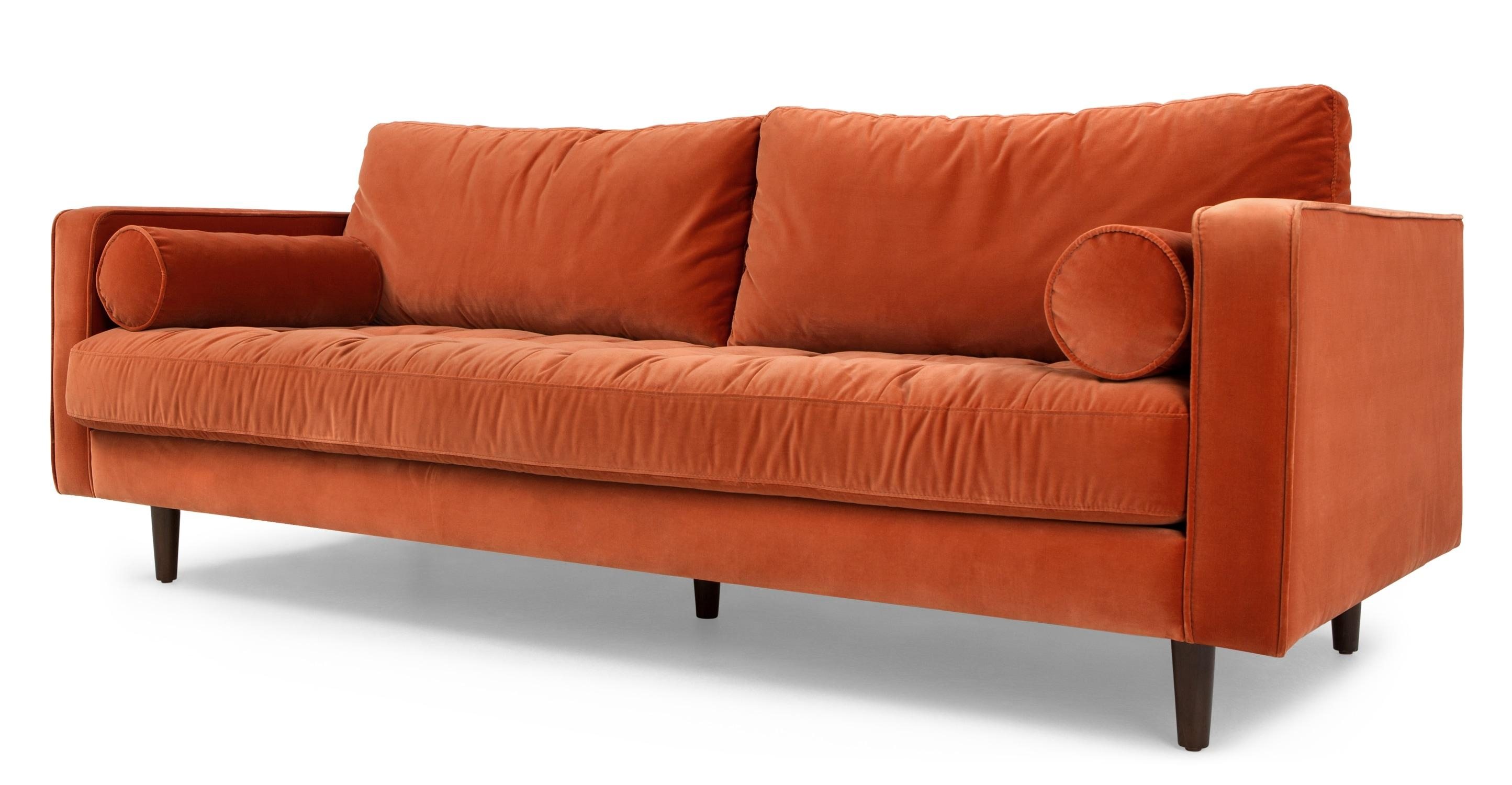 Scott 3 Seater Sofa, Concrete Cotton Velvet | Made In Burnt Orange Sofas (View 5 of 20)