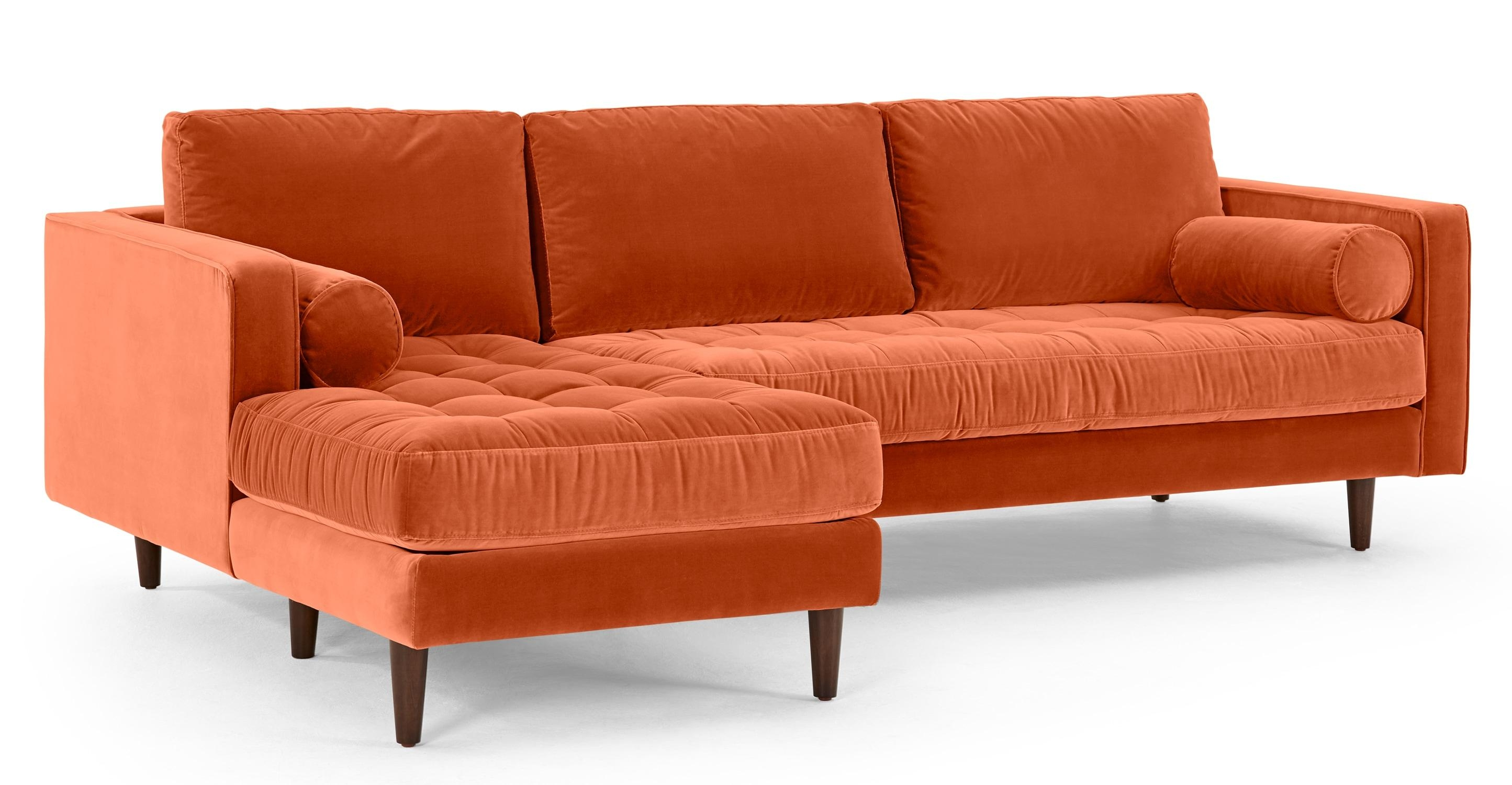 Scott 4 Seater Left Hand Facing Chaise End Sofa, Burnt Orange Throughout Burnt Orange Sofas (Image 14 of 20)