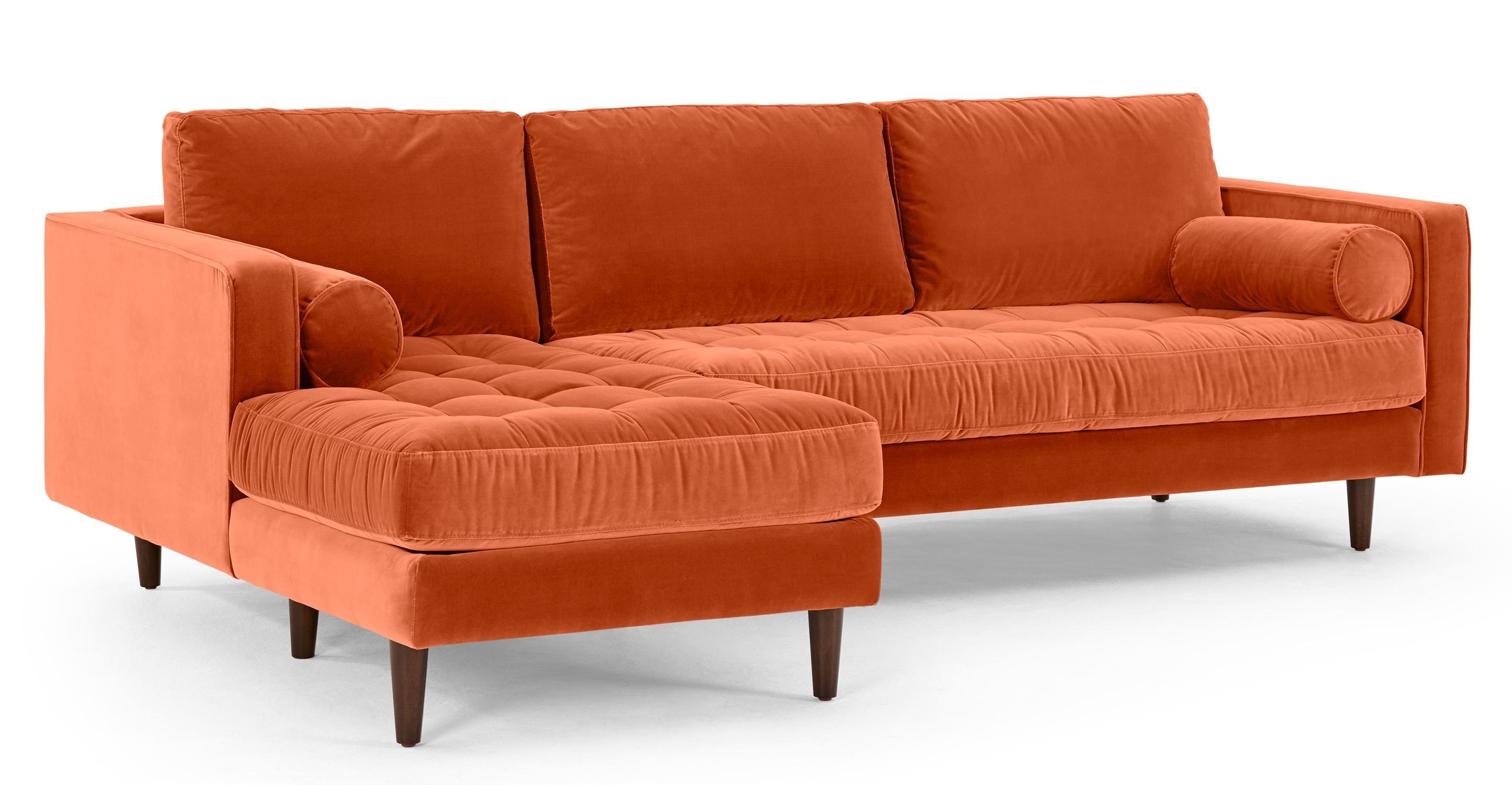 Scott 4 Seater Left Hand Facing Chaise End Sofa, Burnt Orange Throughout Burnt Orange Sofas (View 9 of 20)