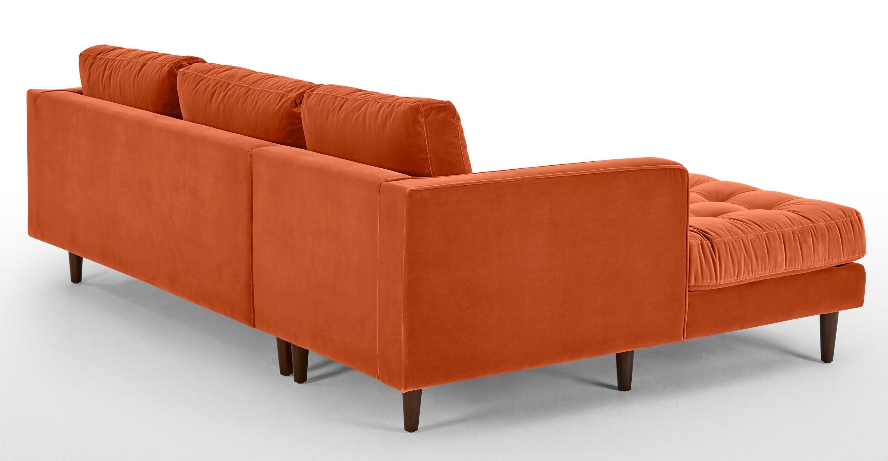 Scott 4 Seater Left Hand Facing Chaise End Sofa, Burnt Orange Within Burnt Orange Sofas (View 14 of 20)