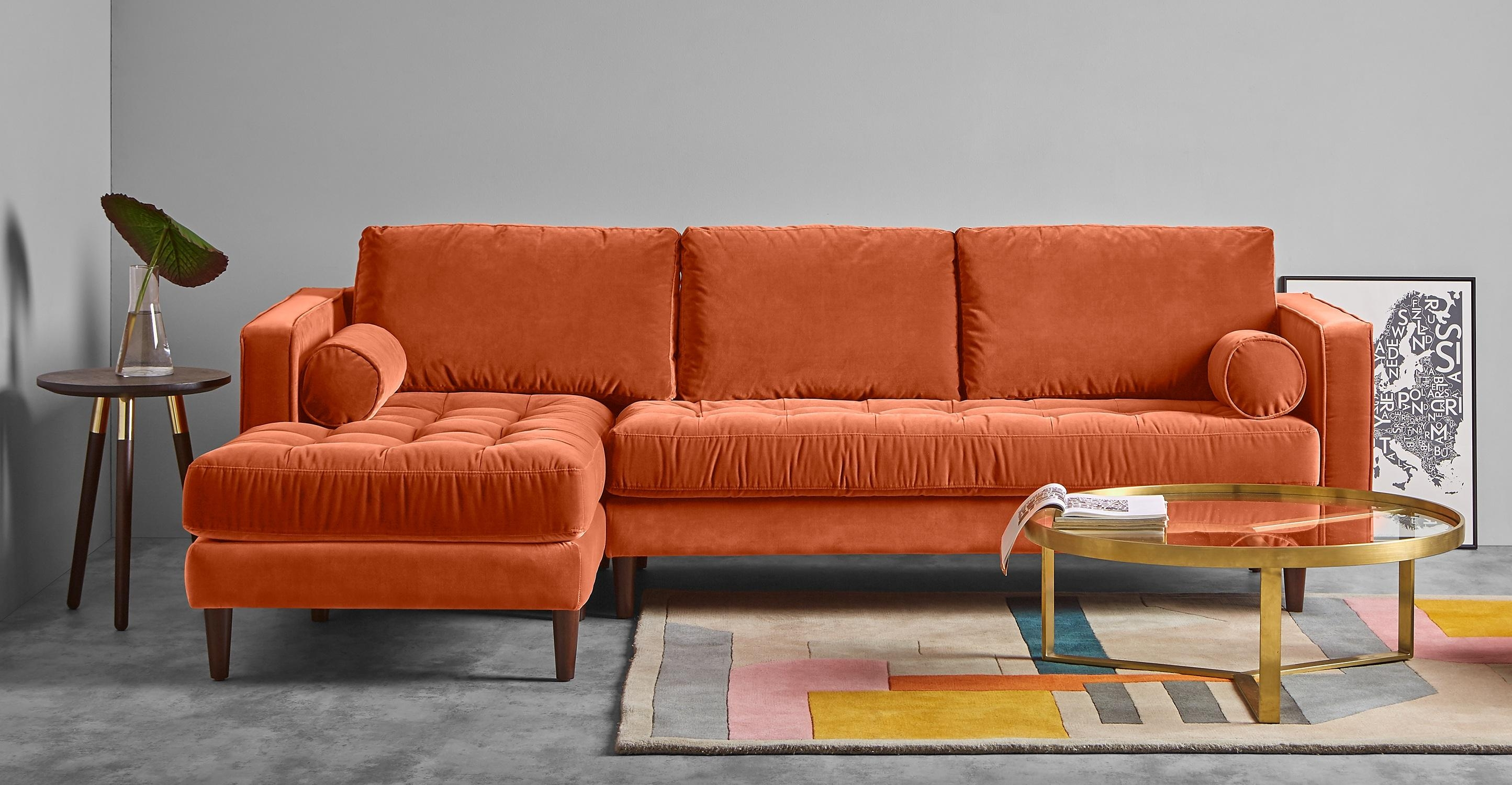 Scott 4 Seater Left Hand Facing Chaise End Sofa, Burnt Orange Within Burnt Orange Sofas (Image 15 of 20)