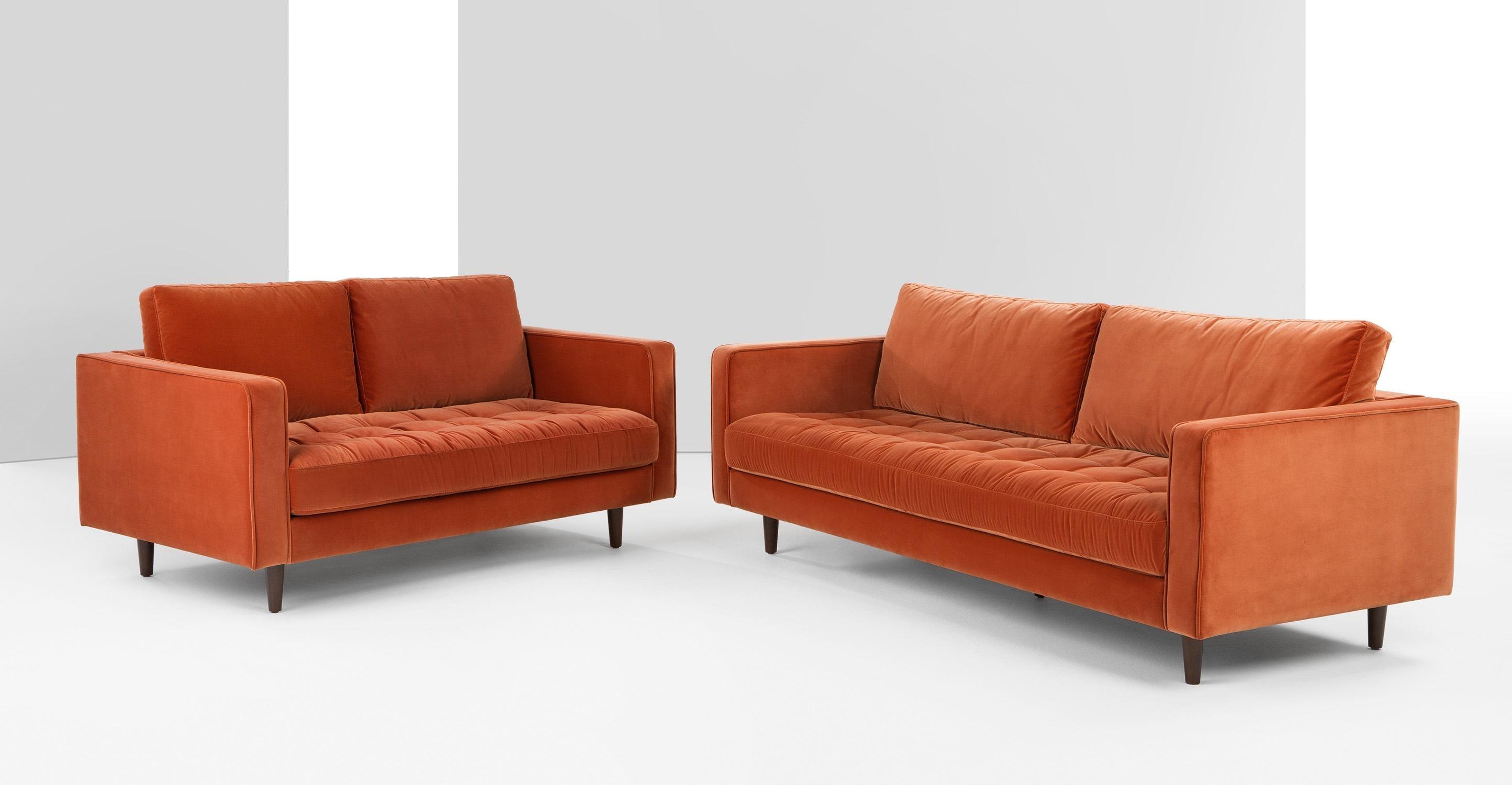 Scott Armchair, Burnt Orange Cotton Velvet | Made Regarding Burnt Orange Sofas (Image 17 of 20)