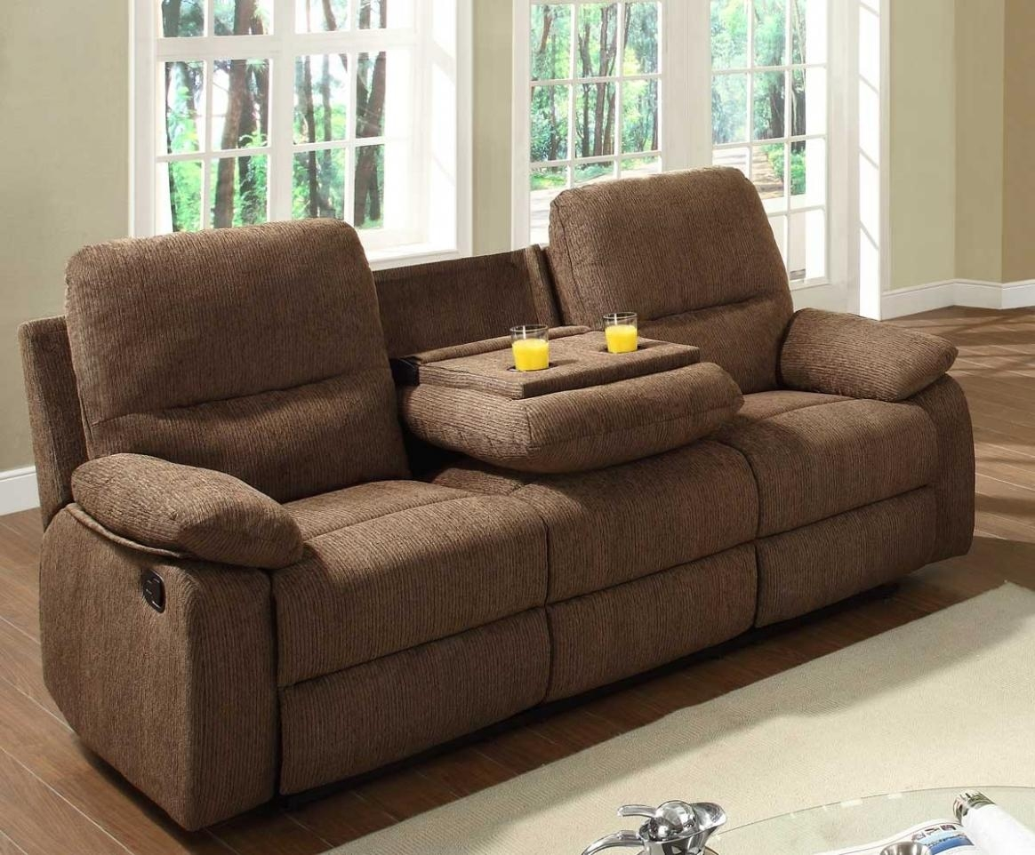 Sectional Recliner Sofa With Cup Holders In Chocolate Microfiber For Sectional With Cup Holders (Image 13 of 20)