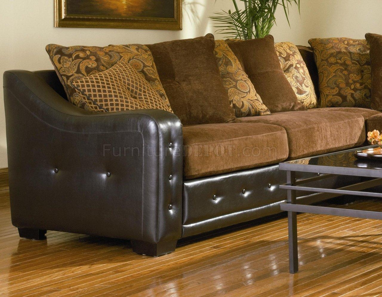 Sectional Sofa 503001 Chocolate Chenille/dark Brown Vinyl Base Intended For Leather And Chenille Sectional (Image 17 of 20)