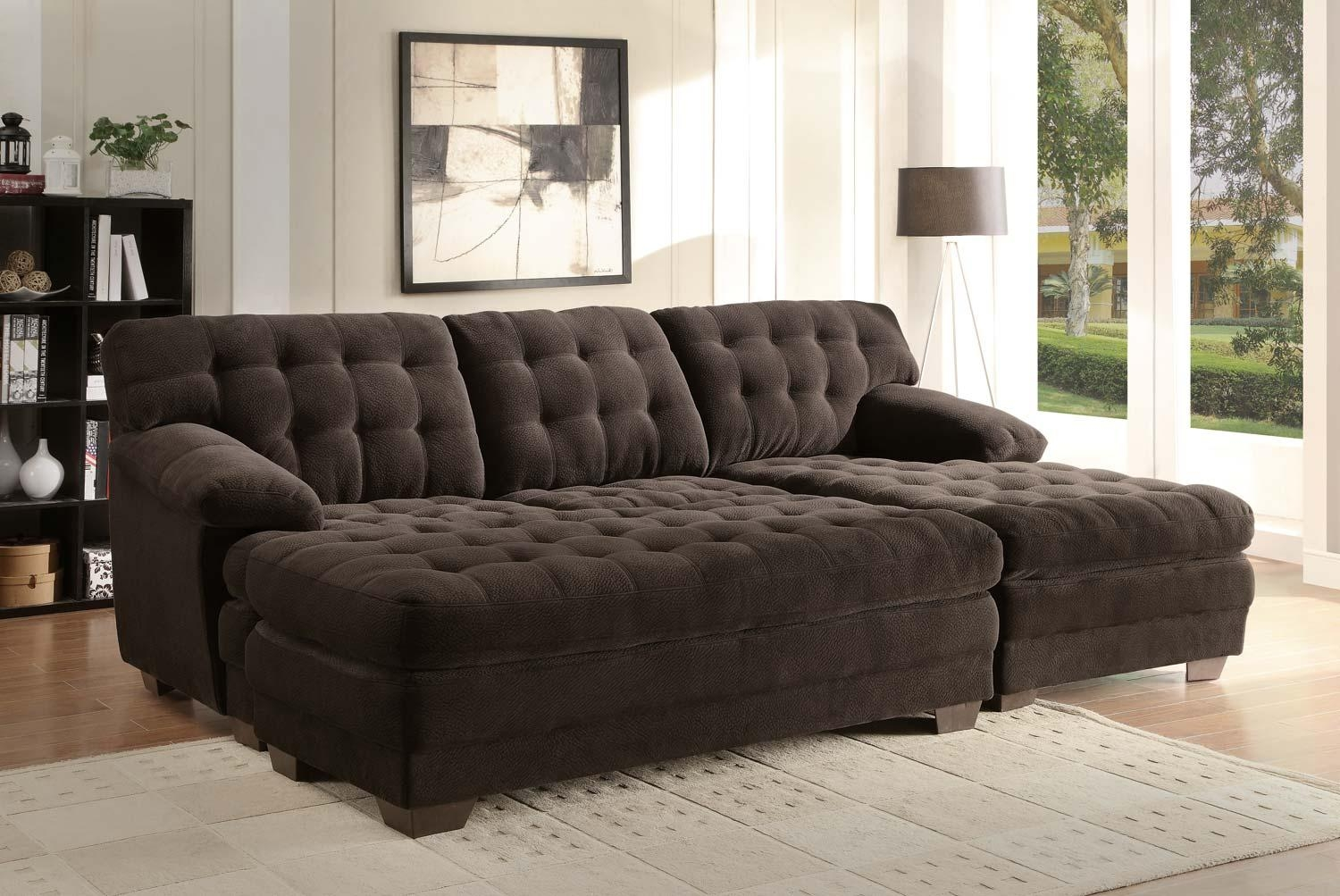 Sectional Sofa Couch Reversible Chaise Micro Suede Chocolate In Sectional Sofa With Large Ottoman (Image 9 of 20)