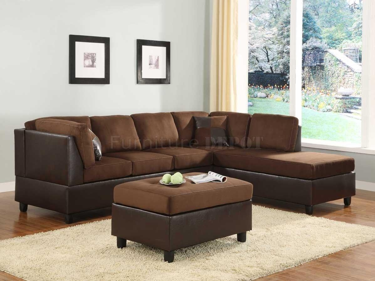 Sectional Sofa Couch Reversible Chaise Micro Suede Chocolate Throughout Microsuede Sectional Sofas (View 10 of 20)