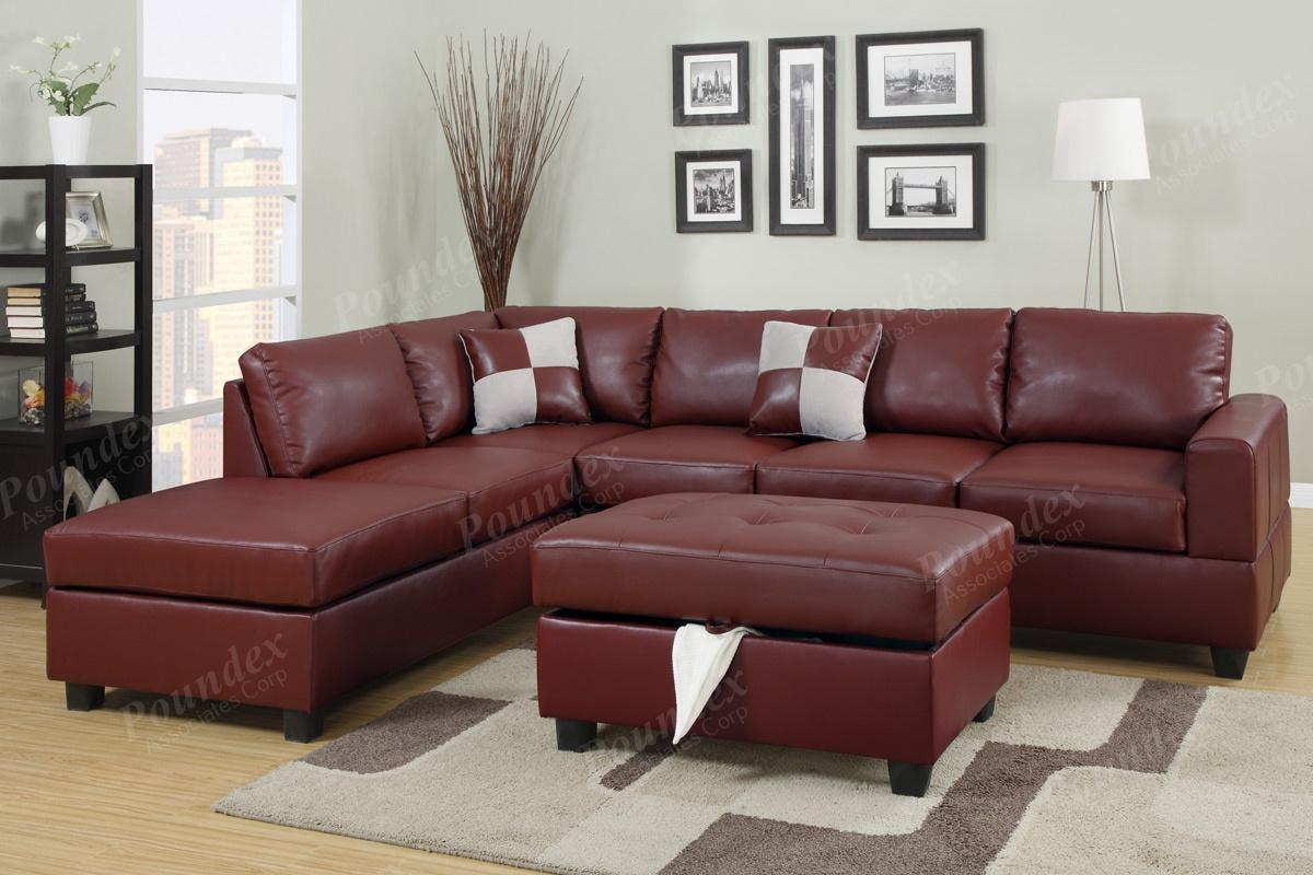 Sectional Sofa Sectional Couch In Bonded Leather Sectionals Sofa With Sofa With Chaise And Ottoman (Image 13 of 20)