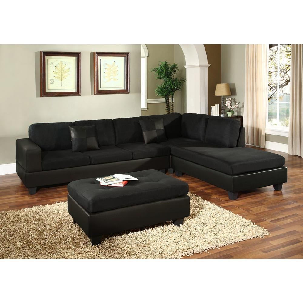 Sectionals – Living Room Furniture – The Home Depot Within Black Microfiber Sectional Sofas (View 6 of 20)