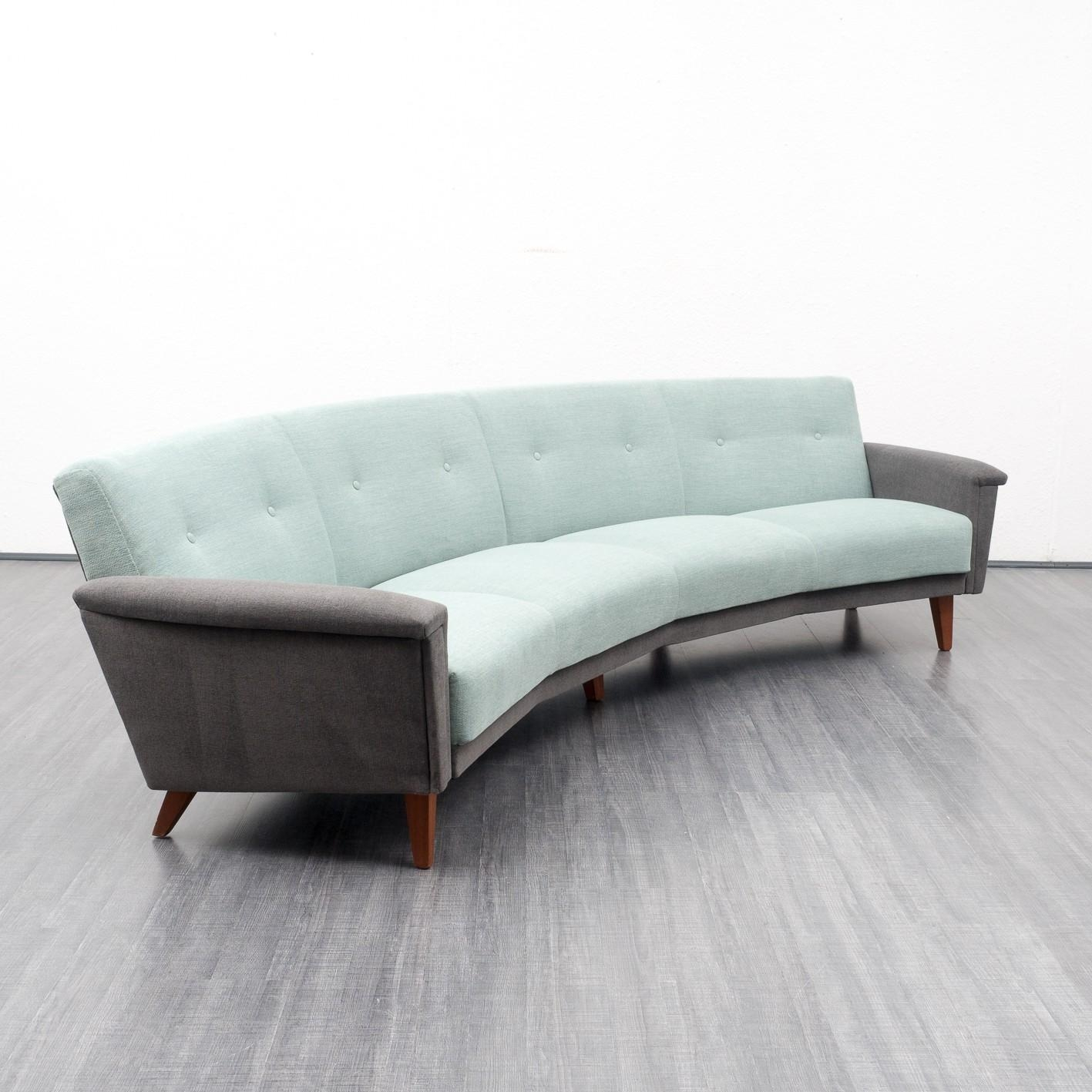 Semicircular Sofa In Light Turquoise And Grey Fabric – 1950S In Semicircular Sofa (Image 16 of 20)