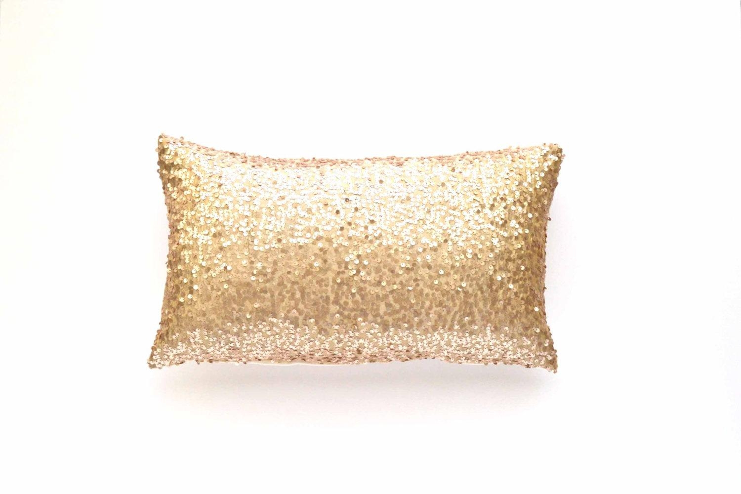 Sequin Lumbar Pillow Cover Champagne Sequin 12 X Throughout Gold Sofa Pillows (Image 17 of 20)