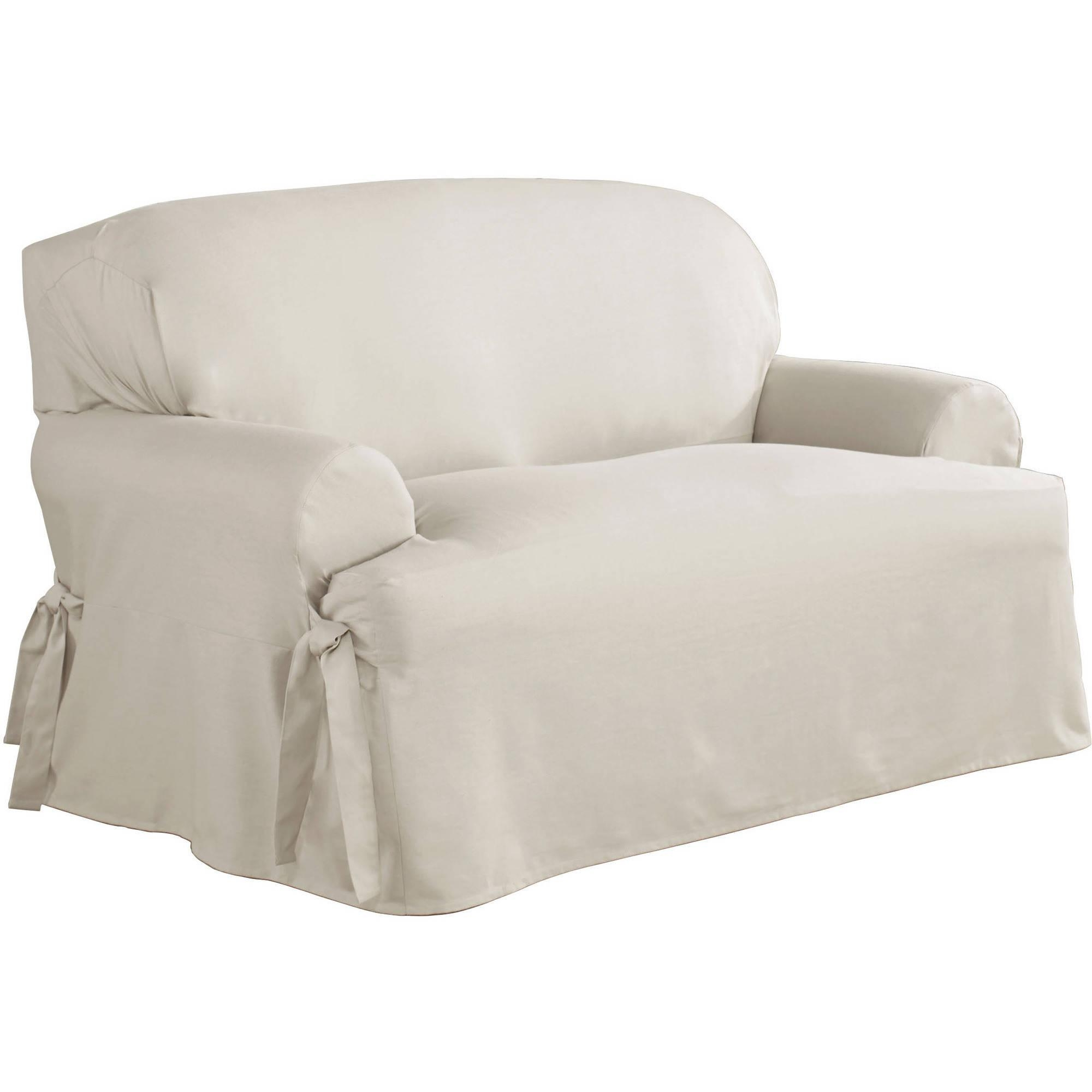 Serta Relaxed Fit Duck Furniture Slipcover, Loveseat 1 Piece T With Loveseat Slipcovers T Cushion (View 7 of 20)