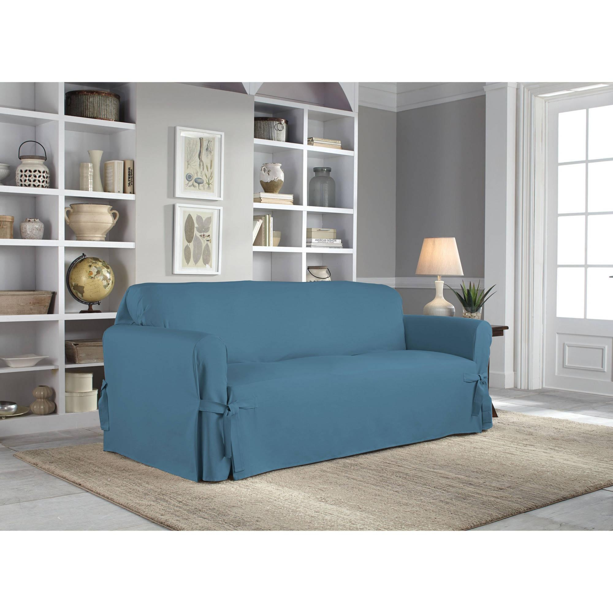 Serta Relaxed Fit Duck Furniture Slipcover, Sofa 1 Piece Box For Teal Sofa Slipcovers (Image 18 of 20)