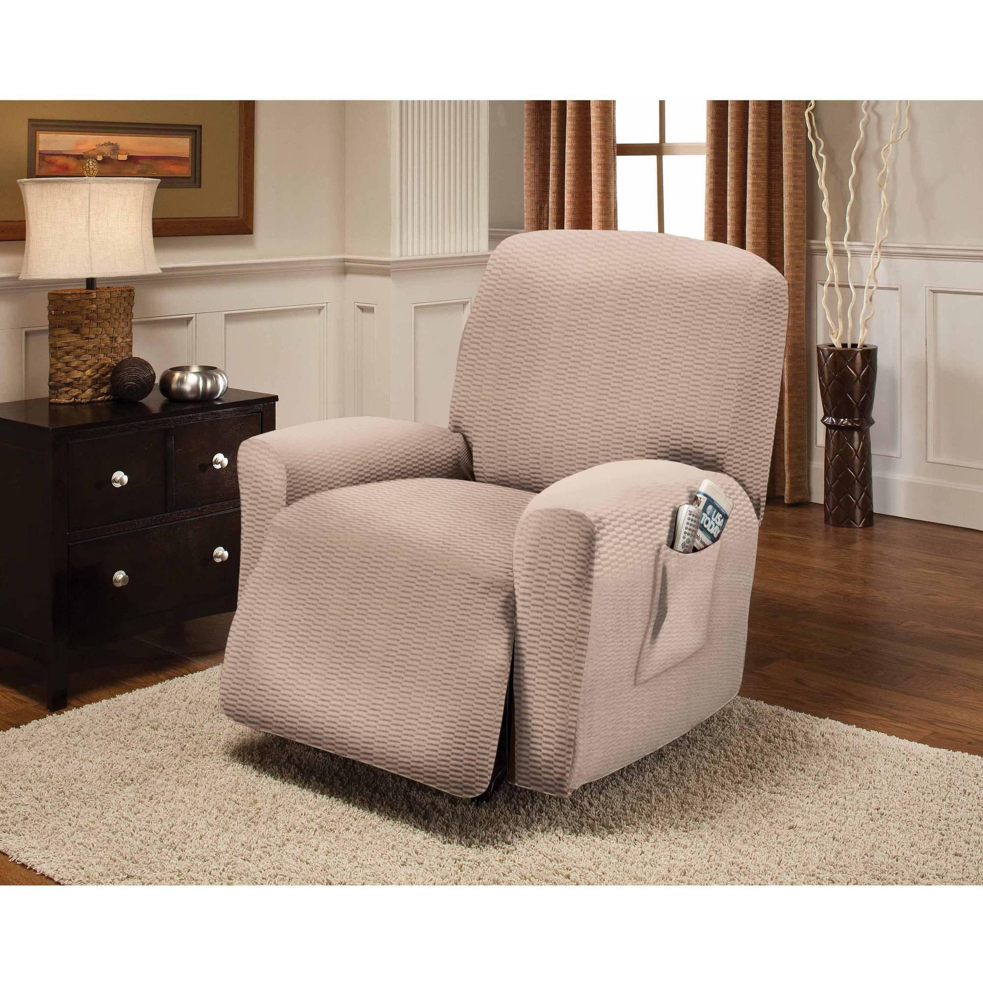 Serta Stretch Grid Slipcover, Recliner 4 Piece Box Cushion With Stretch Covers For Recliners (Image 16 of 20)