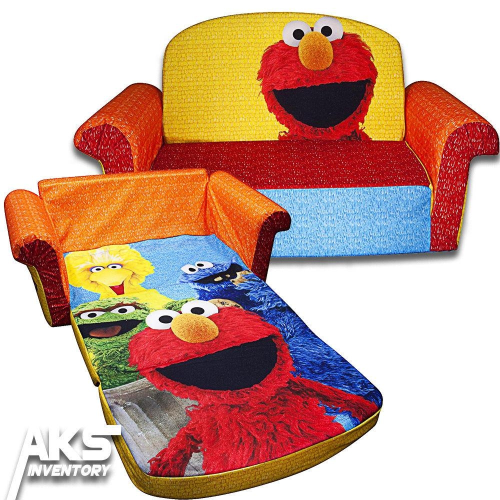 Sesame Street Elmo Flip Open Sofa Convertable Couch Lounger In Elmo Flip Open Sofas (View 16 of 20)