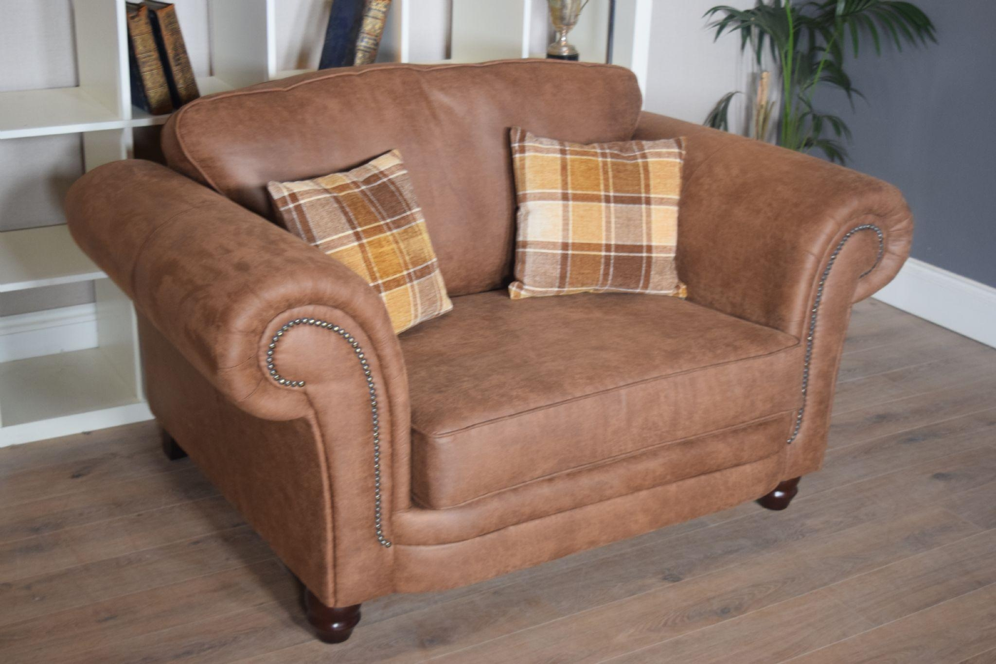 Set Abbey Downton 3 Seater Sofa & Large Cuddle Chair – Tan Fitted Back With 3 Seater Sofa And Cuddle Chairs (Image 3 of 20)