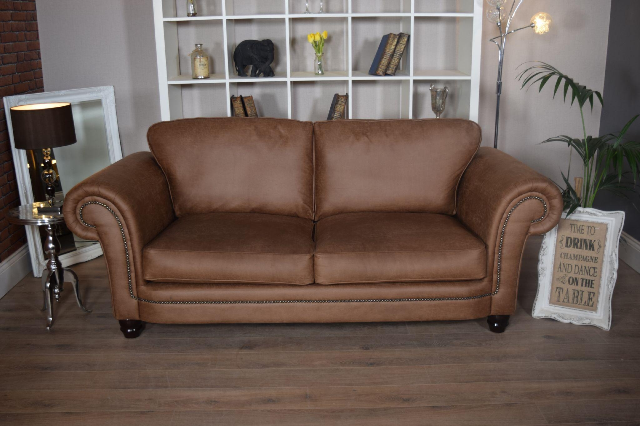 Set Abbey Downton 3 Seater Sofa & Large Cuddle Chair – Tan Fitted Back With Regard To 3 Seater Sofa And Cuddle Chairs (Image 4 of 20)