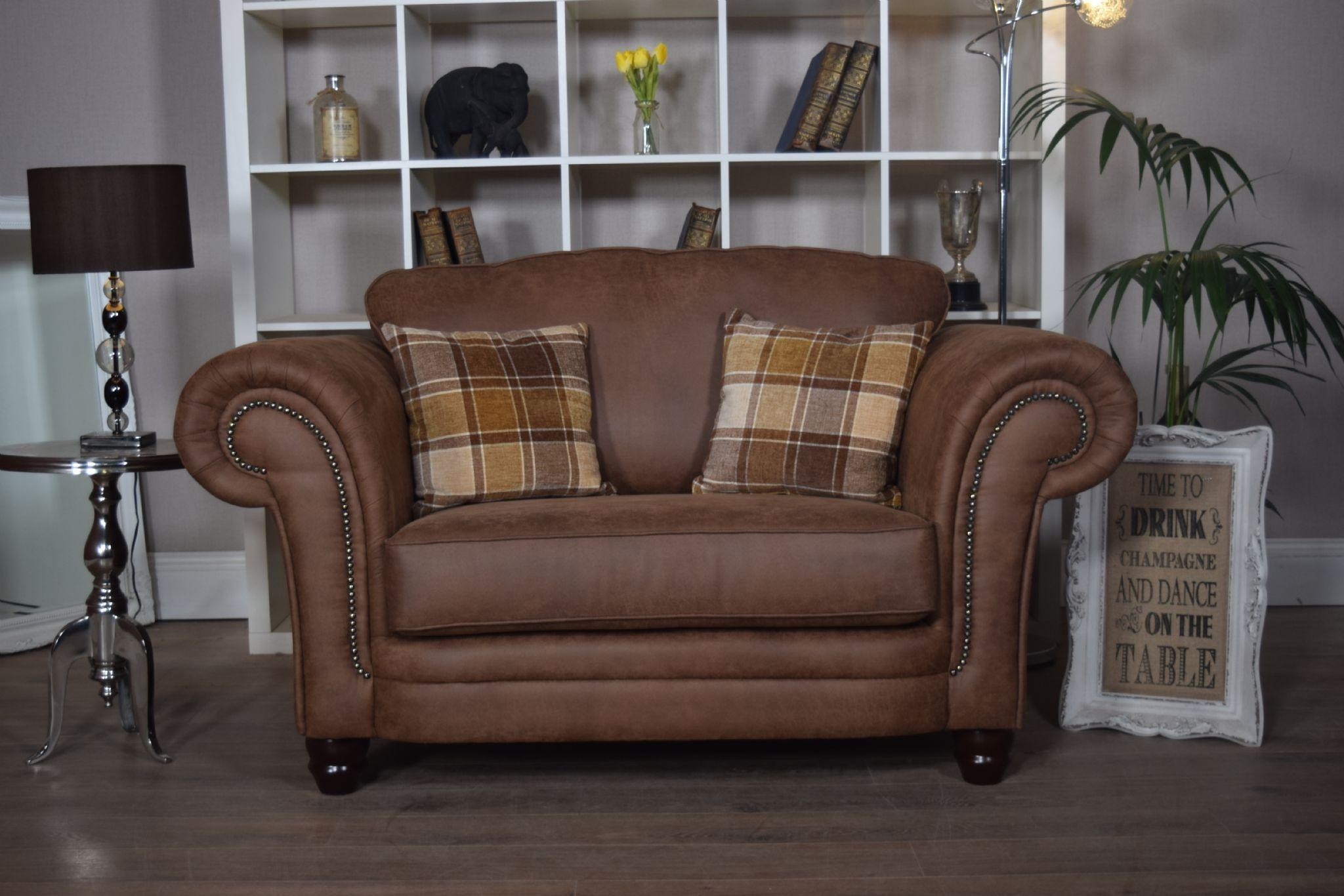 Set Abbey Downton 3 Seater Sofa & Large Cuddle Chair – Tan Fitted Back Within 3 Seater Sofa And Cuddle Chairs (View 19 of 20)