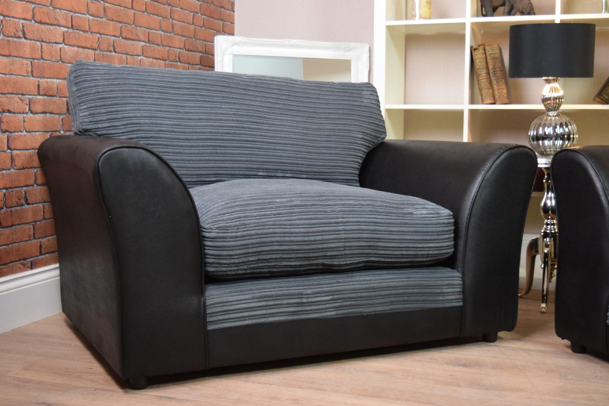 Set Harley Bailey 3 Seater Sofa Cuddle Chair Suite Set – Black Within 3 Seater Sofa And Cuddle Chairs (View 15 of 20)