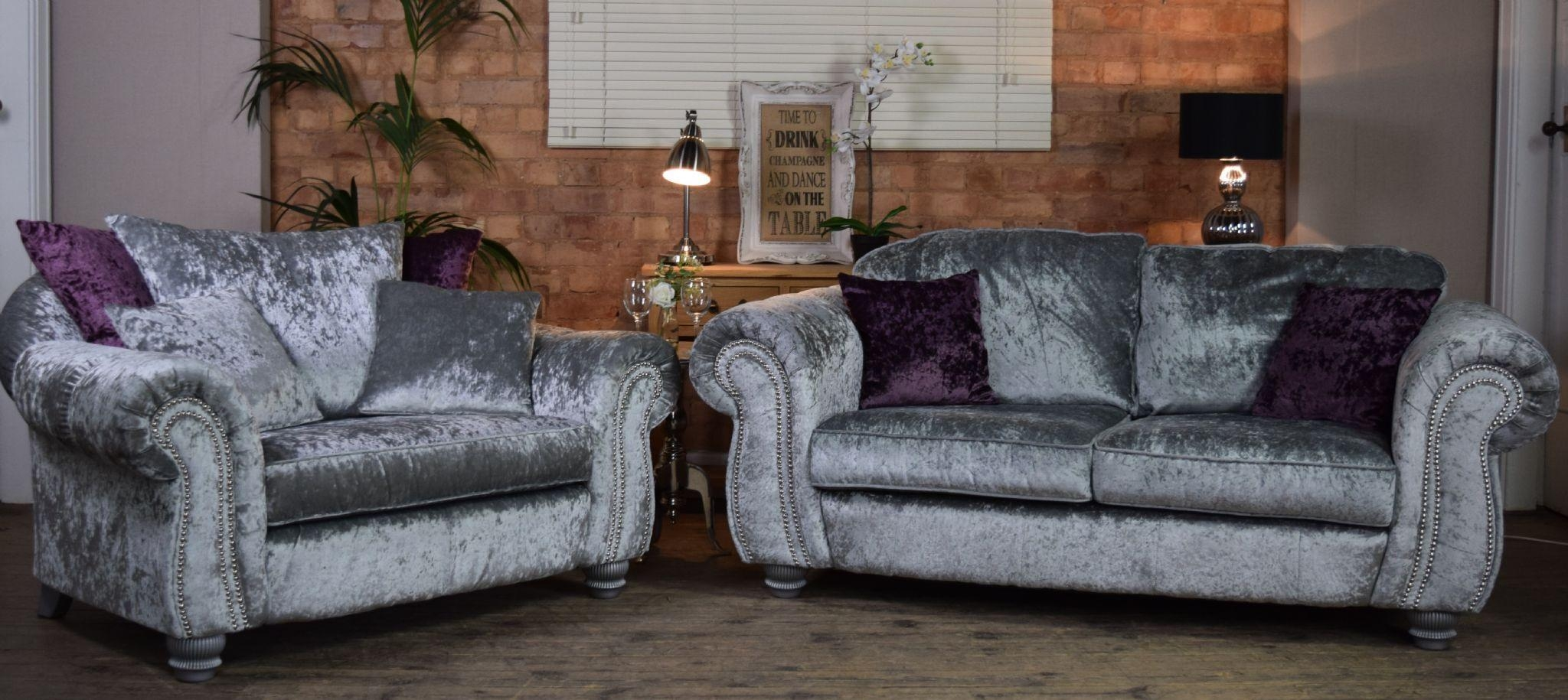 Set Luna Quantas 2 Seater Sofa Cuddle Chair Suite Set – Silver Pertaining To 3 Seater Sofa And Cuddle Chairs (Image 7 of 20)