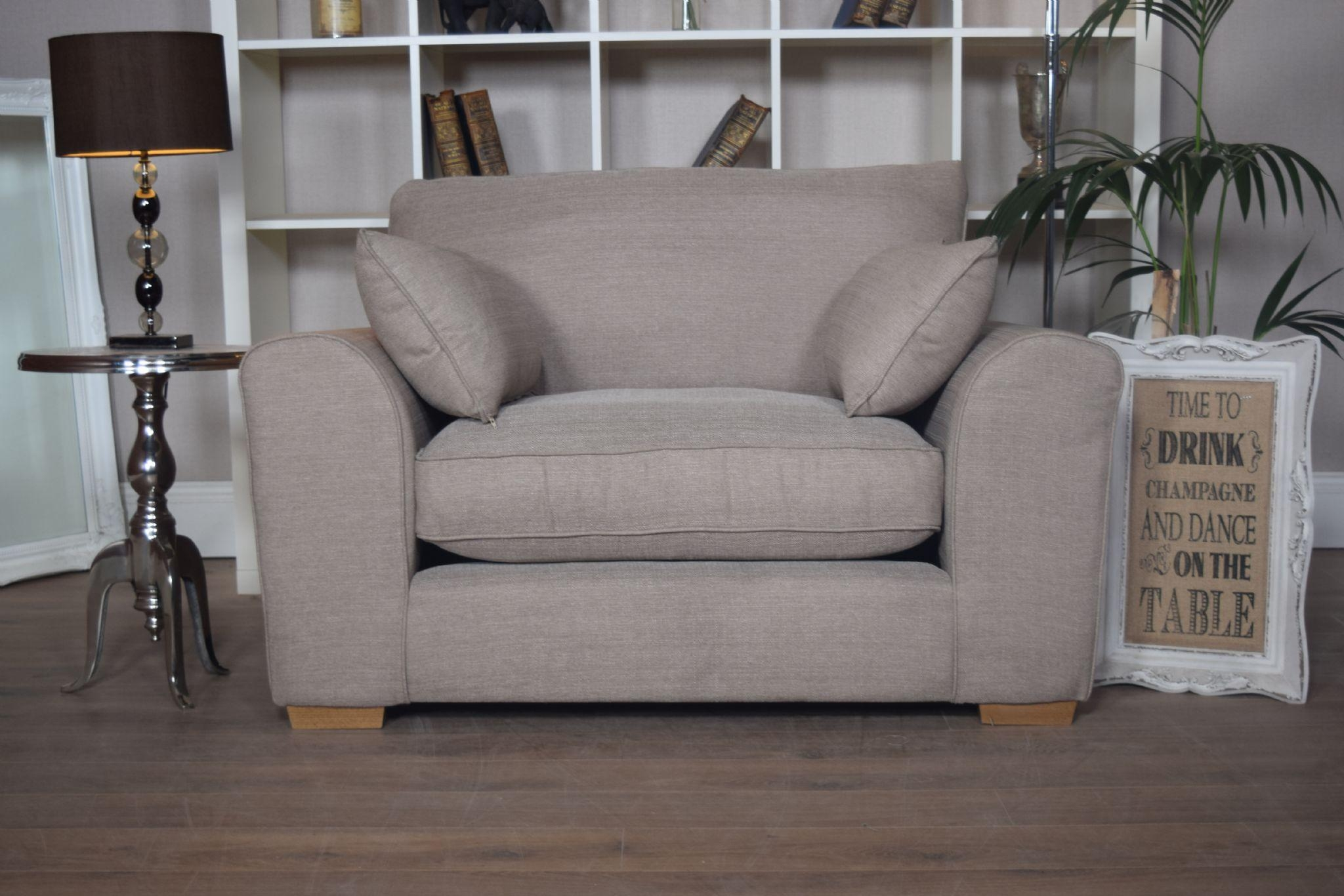 Set New Ashdown 3 Seater Sofa & Cuddle Chair Set – Beige Mink Regarding 3 Seater Sofa And Cuddle Chairs (Image 10 of 20)