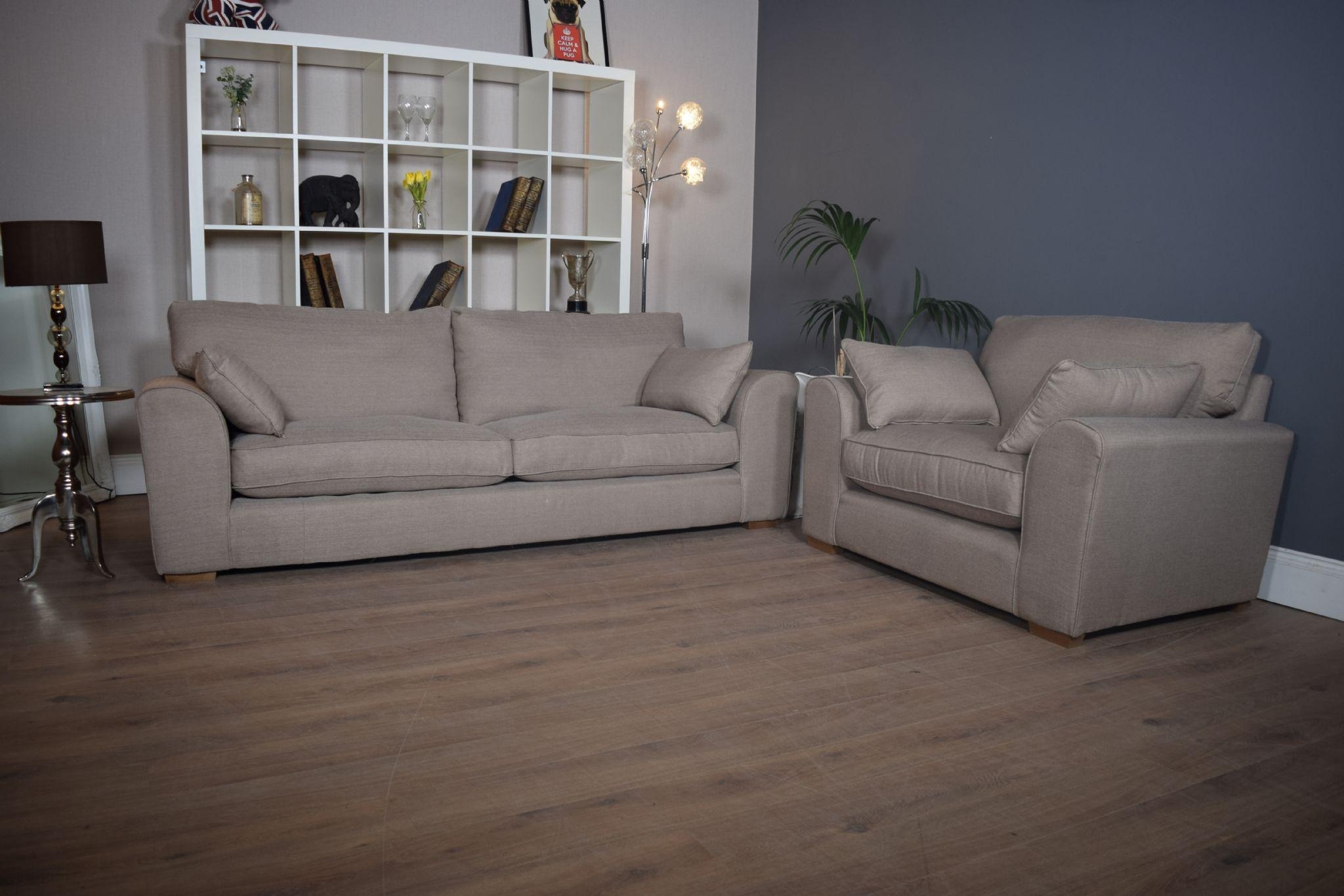 Set New Ashdown 3 Seater Sofa & Cuddle Chair Set – Beige Mink Throughout 3 Seater Sofa And Cuddle Chairs (View 3 of 20)