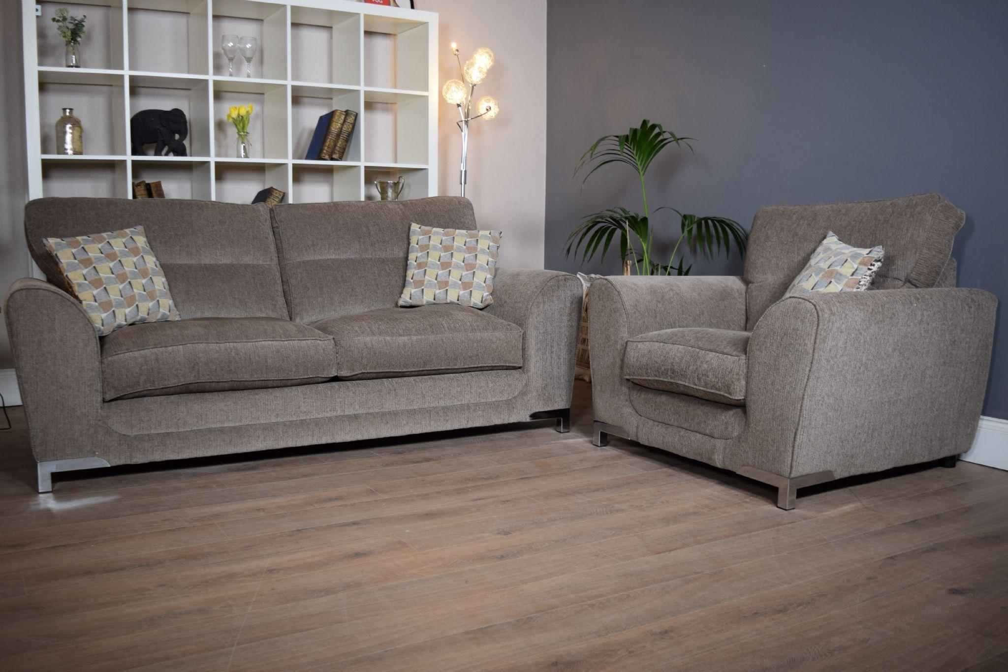Set Nikki 3 Seater Sofa & Cuddle Chair Suite Set – Mocha Grey Throughout 3 Seater Sofa And Cuddle Chairs (View 14 of 20)